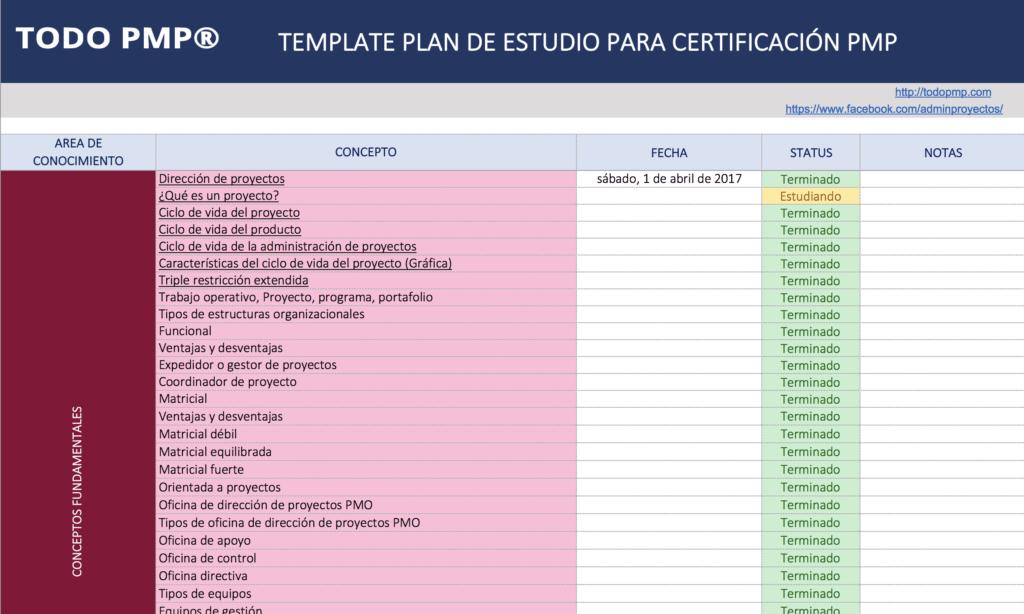 Plan estudio PMP