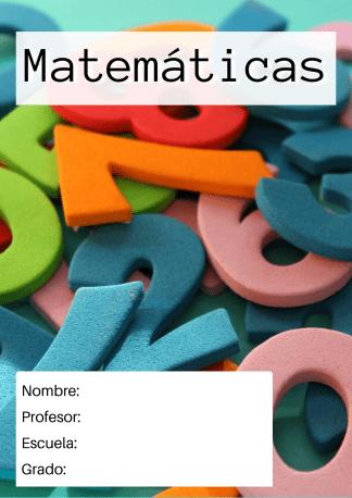 portada de matematicas numeros de colores