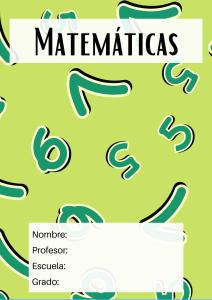 portada para matemáticas verde