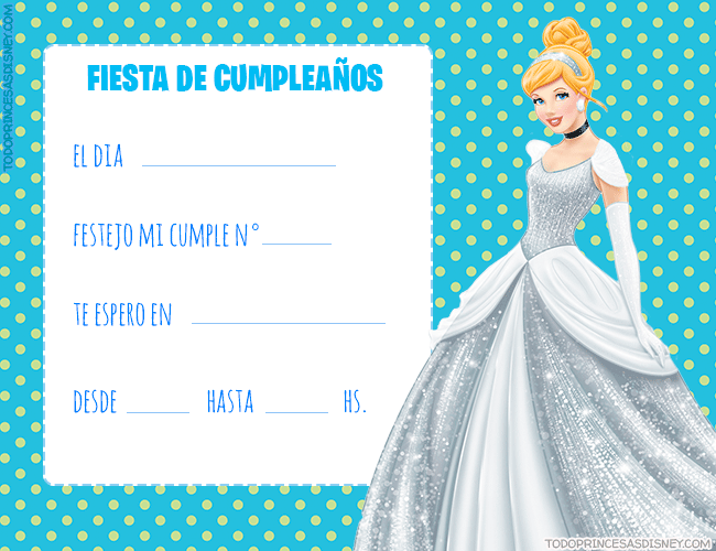 Invitaciones Princesa cenicienta cumpleanos