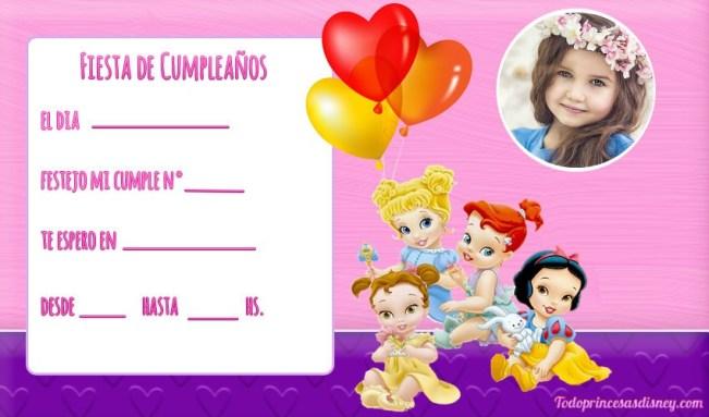 Princesas Bebes INvitaciones cumpleanos
