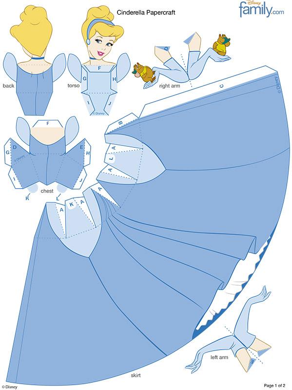 Princesa Cenicienta molde para imprimir y armar