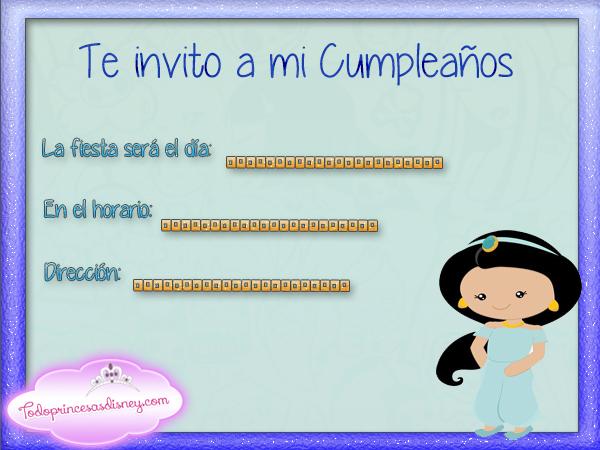 Invitaciones de Cumpleaños de Jazmín Princesas Disney