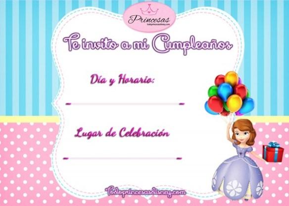 Invitaciones de Cumpleaños Princesita Sofía