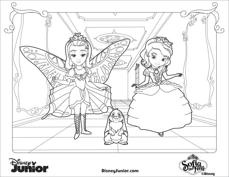 La Princesa Sofia Para Colorear: Dibujos Para Colorear De Princesa Sofia, Amber Y Clover