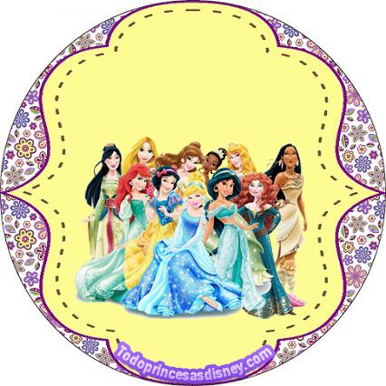 Etiquetas Princesas Disney - Stickers de las Princesas Disney - Imprimibles de Candy bar Princesas Disney