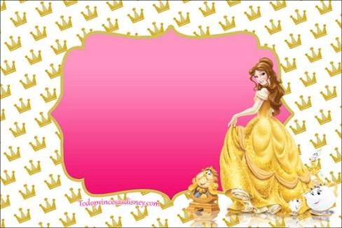 Tarjetas de Princesa Bella - Etiquetas de Bella - Imprimibles Bella Bestia cumpleaños