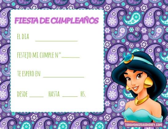 Invitaciones de Cumpleanos de Princesa Jasmin Aladdin
