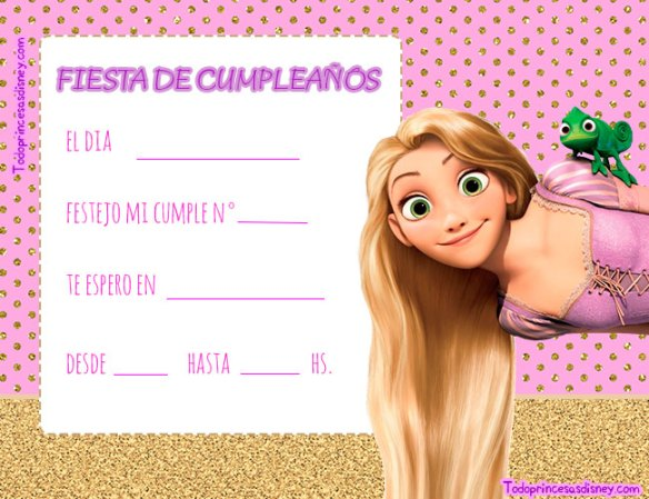 Invitaciones de cumpleanos Rapunzel Tangled