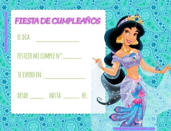 Princesa Jasmin Tarjetas invitaciones cumpleanos