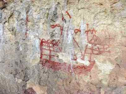 Pictograma rupestre del Siglo XV de un tipo de embarcación llamada Nao, cerca del poblado de Bagil.