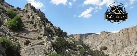 Embudo montañoso utilizado para construir un camino en las obras de reforestación de Sierra Espuña llamado Senda del Caracol.
