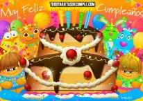 Tarjetas de cumpleaños con torta gigante, globos y animalitos