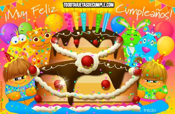 Tarjeta de cumpleaños con torta