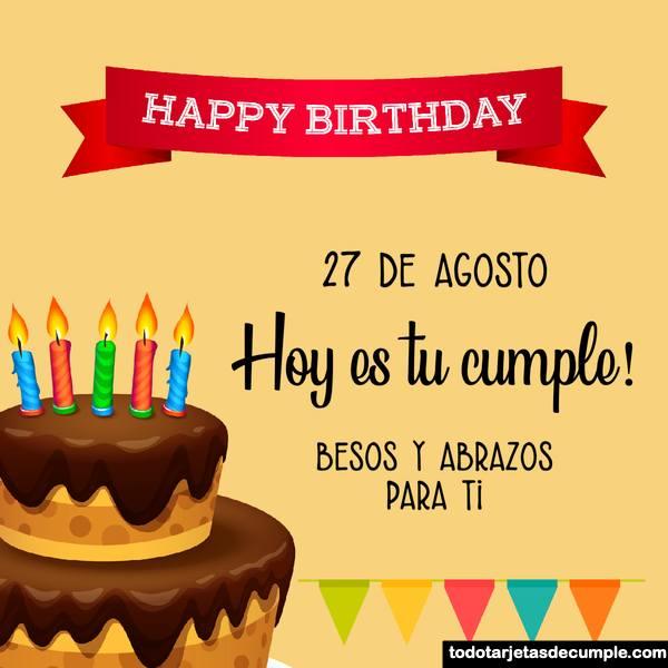 Tarjetas de feliz cumpleaños con los días de agosto