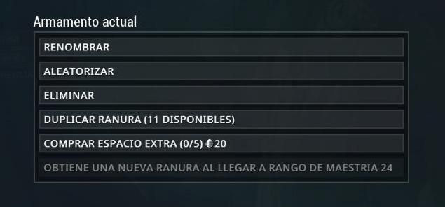Arsenal Opciones de Equipamiento ES