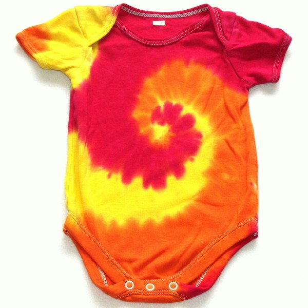 Custom Dyed Baby Vests - Sunshine swirl