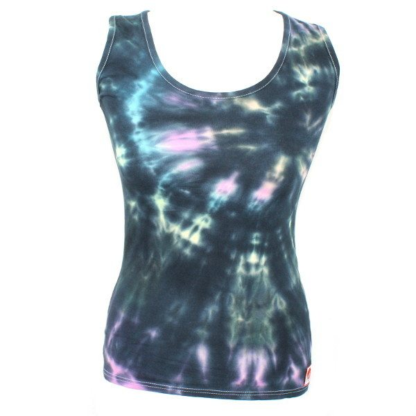 Ladies Vest - Black Pastel Rainbow