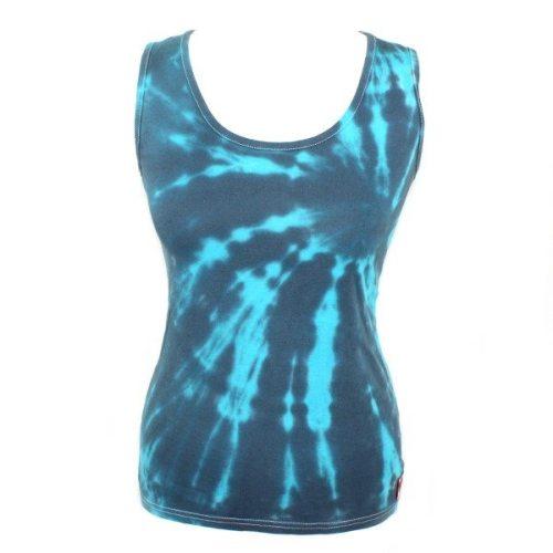 Ladies vest - charcoal & turquoise slash