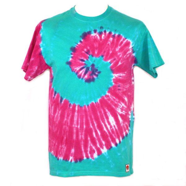 Custom dyed adults t-shirt - Jade & magenta swirl