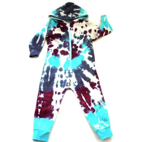 Custom dyed kids onesies - blues and purple swirl onesie