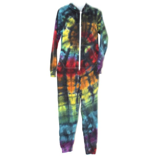 custom dyed adults onesie black rainbow
