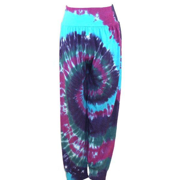 custom dyed harem pants - blues and purple