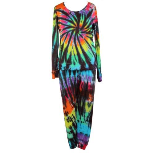 custom dyed adults pyjamas Black rainbow