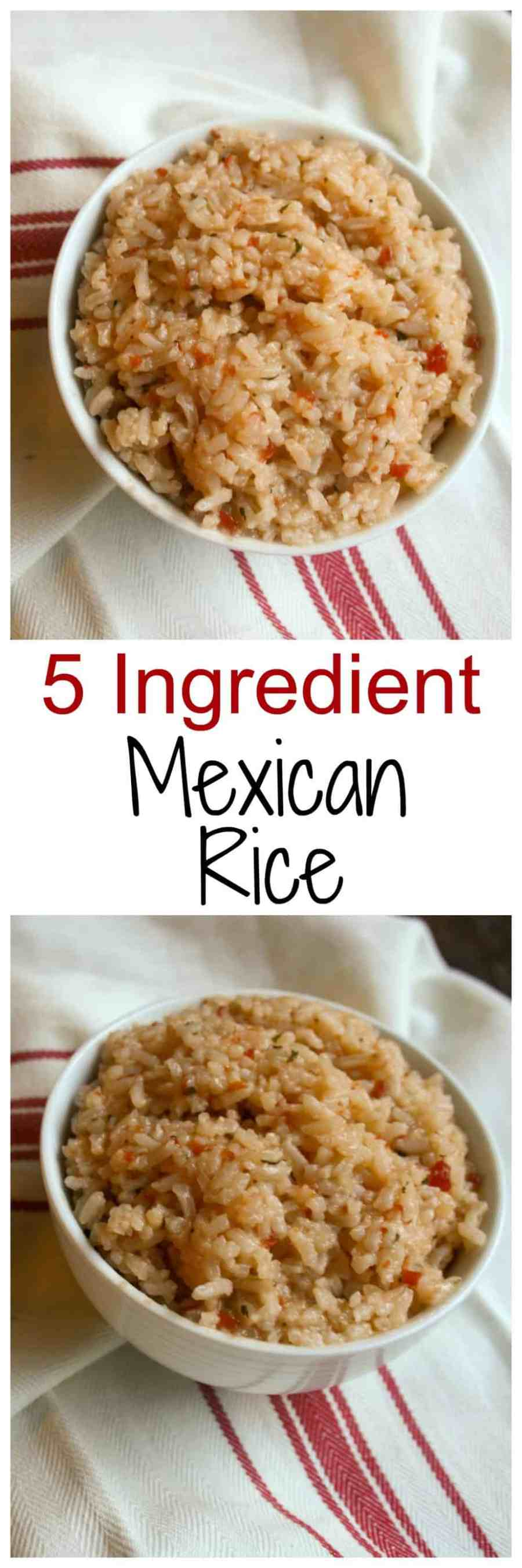 5 Ingredient Mexican rice is so easy to make and should be an addition at every taco night! This is a rice the whole family will love!