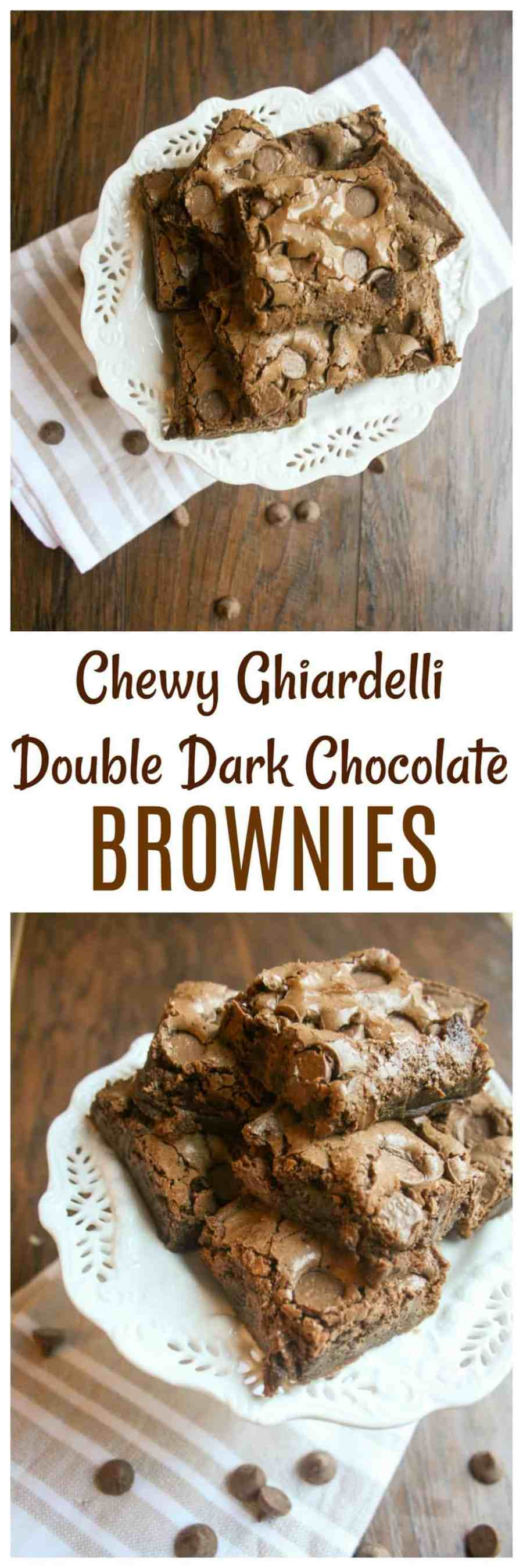 Double dark chocolate chip brownies are the perfect afternoon pick me up. Chock full of delicious, luscious chocolate, you won't be able to eat only one of these!