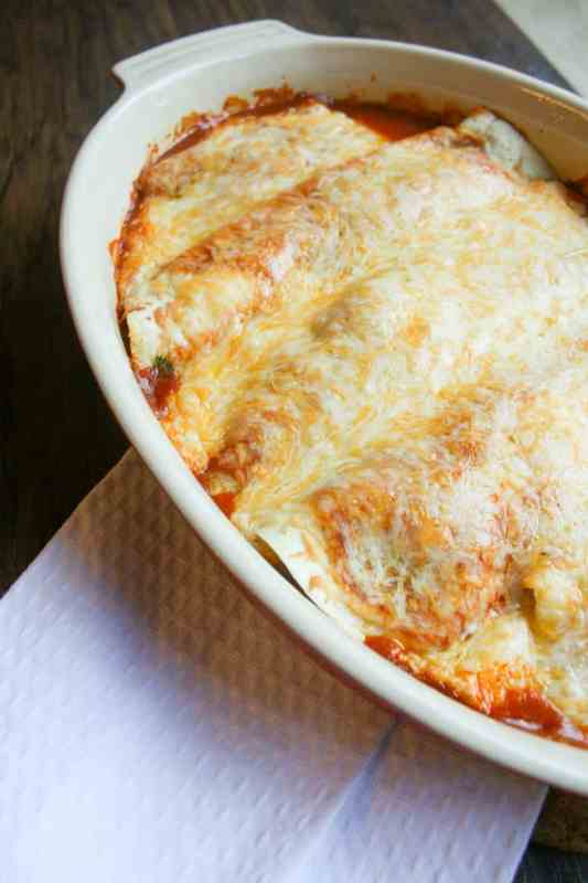 Cheesy Mexican Classic Chicken Enchiladas are the perfect lazy day dinner!