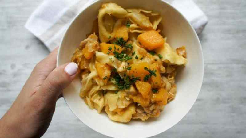 Butternut Squash Tortellini smothered in Parmesan cheese is the perfect Fall dinner the whole family will enjoy!