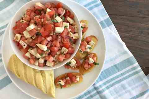 Easy Bruschetta Caprese appetizer with Stella Cheese