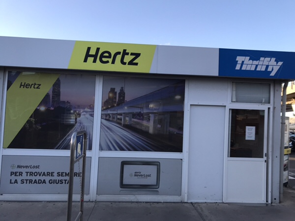 transfer bus stop for FireFly at Catania airport Hertz office