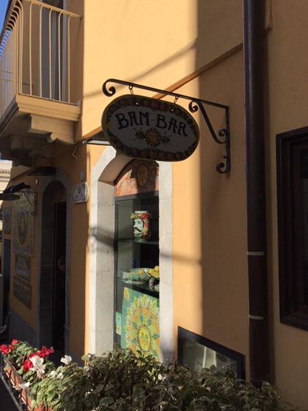 Bam Bar taorminaお店の看板