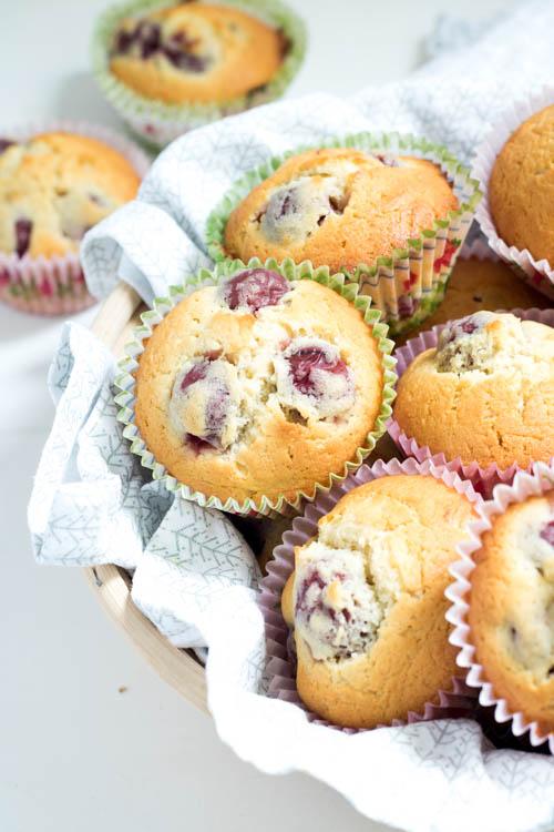 Rezept Kirschmuffins mit weißer Schokolade