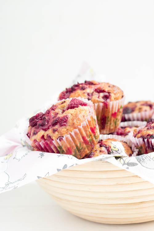 Rezept Vegane Bananen Himbeer Muffins
