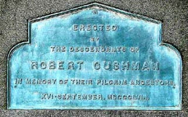 Robert Cushman Monument - first printed sermon in America