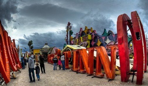 What appeared to be the main area of the newly remodeled site of the Neon Museum & Boneyard.