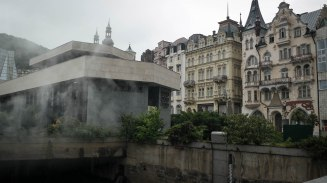 Steam rising from the hot springs in the rain