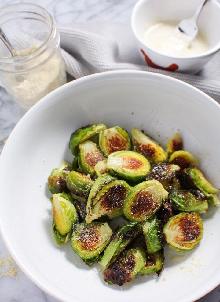 vegan truffle parmesan brussels sprouts