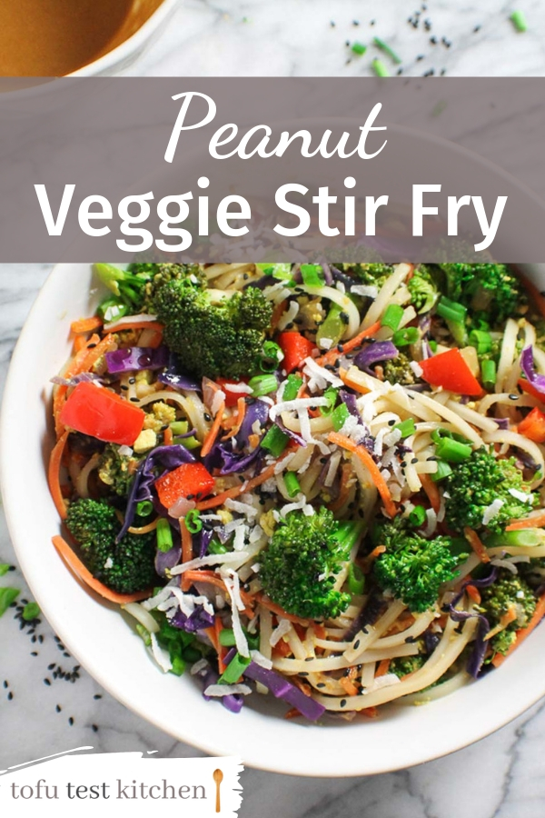 Peanut veggie stir fry in a bowl