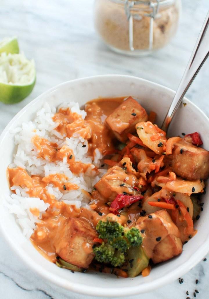 close up peanut sauce over rice and veggies
