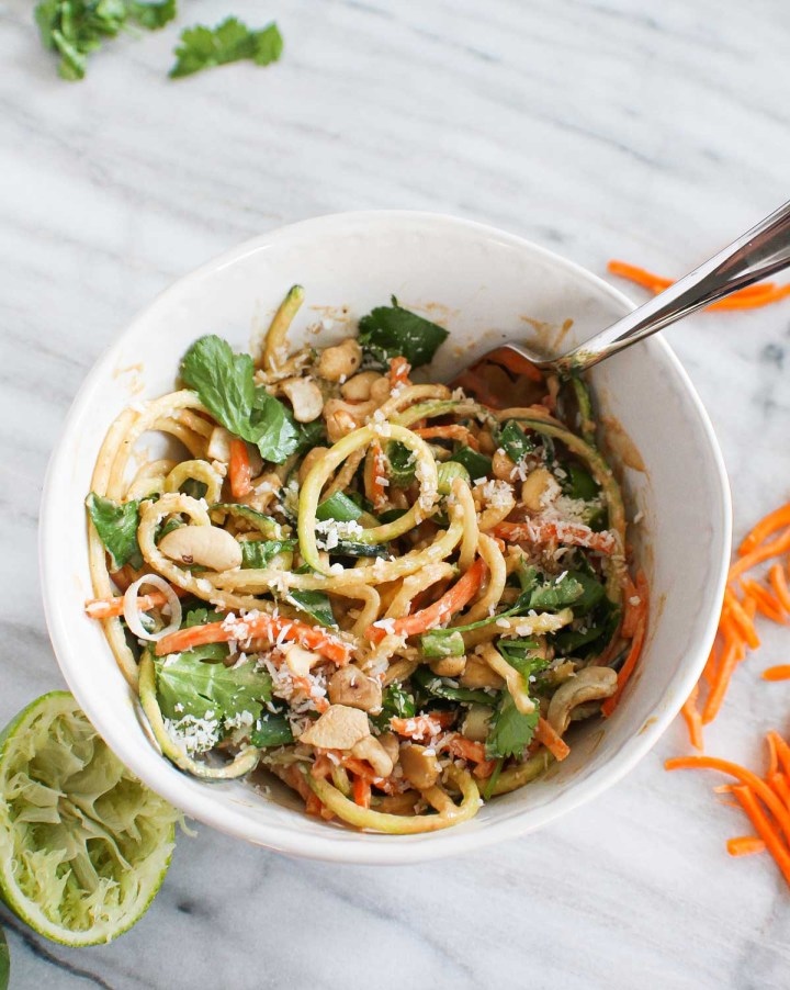 peanut sauce mixed with spiralized veggie noodles