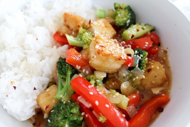 closeup of general tso's tofu and rice