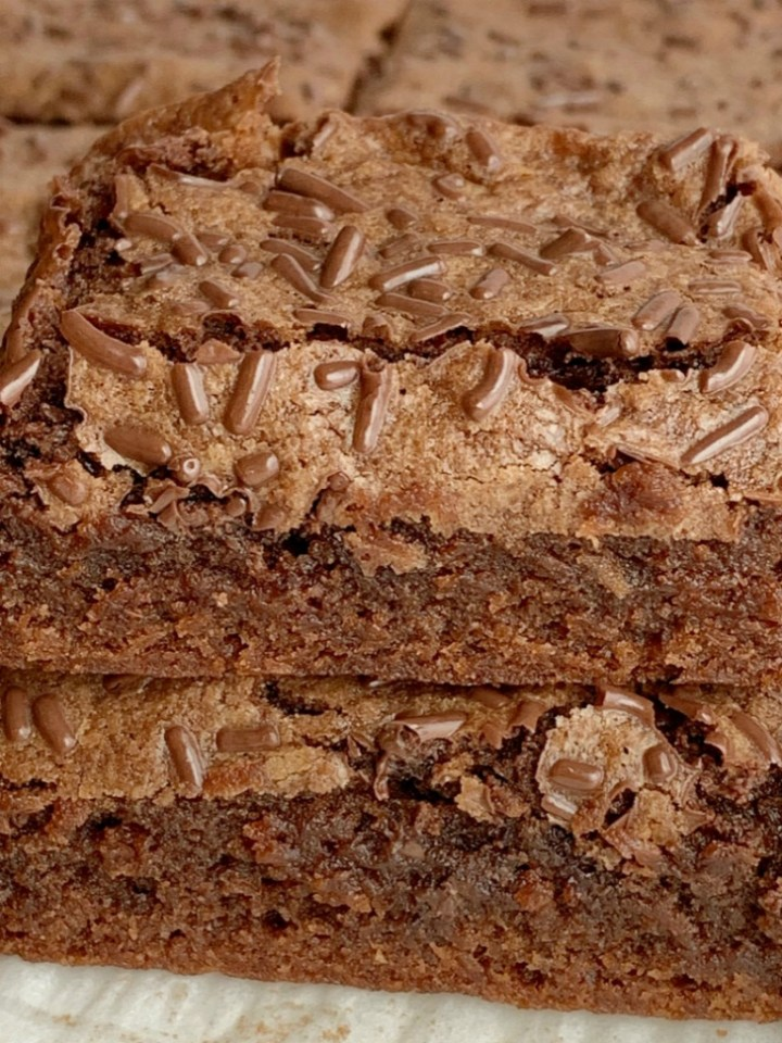 Homemade Brownies are an Easy Dessert Recipe. One Bowl and no mixer needed! These brownies use cocoa powder which makes them so easy to make.