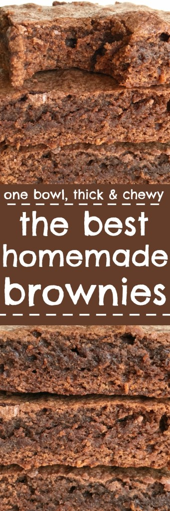 Now you can make the best homemade brownies right at home. Forget the boxed mix, you'll never go back after tasting these. Made with cocoa powder instead of expensive chocolate so they are also budget friendly. Thick, chewy, so chocolatey and the perfect dessert that everyone loves. You only need one bowl and a few minutes to whip up your very own brownies.