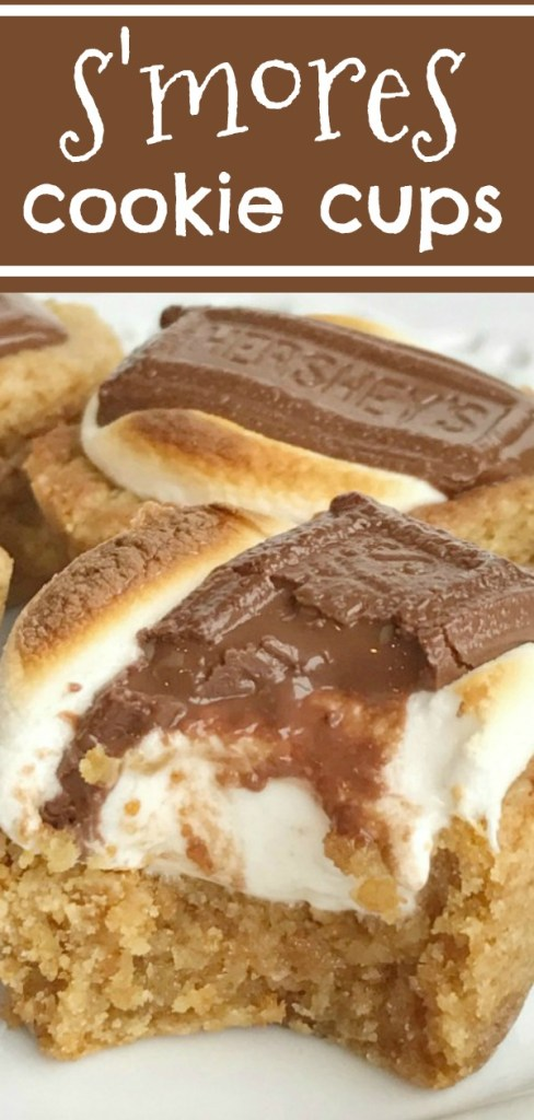 S'mores Cookie Cups | S'mores | Summer Recipes | S'mores Recipe | S'mores cookie cups are baked in a mini muffin pan. Graham cracker cookie base, with a toasted marshmallow, and a piece of gooey chocolate on top! Now you can enjoy campfire toasty s'more all year round for dessert. #dessert #easydessertrecipes #smores