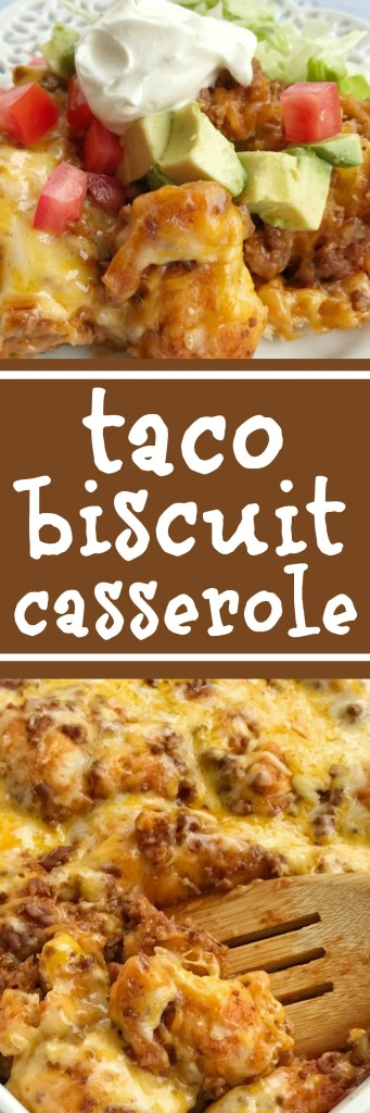 Taco biscuit casserole is an easy & simple one pot meal. Puffed up refrigerated biscuits smothered in a beefy taco mixture and topped with melted cheese. Customize with your favorite taco toppings and you have a delicious dinner recipe that the entire family will love | www.togetherasfamily.com #dinnerrecipes #tacos #casseroles