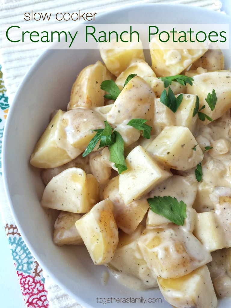 SLOW COOKER CREAMY RANCH POTATOES- creamy, tender, and flavorful potatoes that cook in the crock pot! www.togetherasfamily.com
